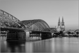 Michael Valjak - Hohenzollern Bridge and Cologne Cathedral black-and-white