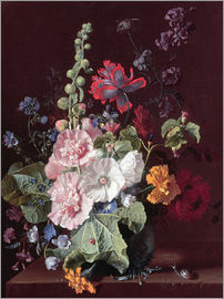 Jan van Huysum - Hollyhocks and Other Flowers in a Vase, 1702-20