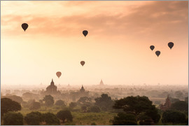 Jordan Banks - Hot air balloons over the temples of Bagan (Pagan), Myanmar (Burma), Asia
