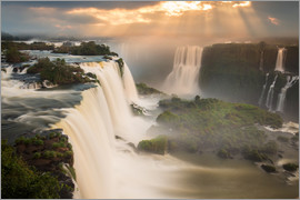 Alex Saberi - Iguazu falls waterfall at sunset.