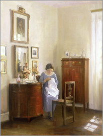 Carl Holsoe - Interior with Lady Sewing