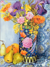 Joan Thewsey - Iris and Pinks in a Japanese Vase with Pears