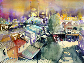 Johann Pickl - Istanbul, view from Valide Han to Nuruosmaiye Mosque