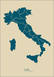 Ingo Menhard - Modern map of Italy Artwork Design
