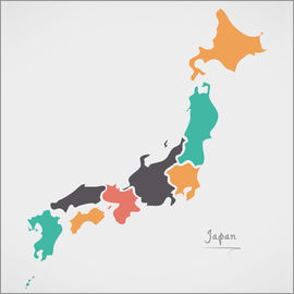 Ingo Menhard - Japan map modern abstract with round shapes