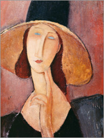 Amedeo Modigliani - Portrait of Jeanne Hebuterne in a large hat