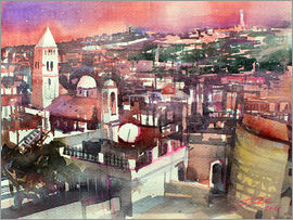 Johann Pickl - Jerusalem, Old Town with Church of the Redeemer