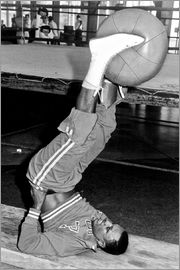 Joe Frazier during training with a medicine ball