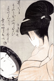 Kitagawa Utamaro - Young woman applying make-up