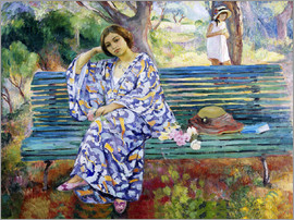 Henri Lebasque - Young woman seated on a bench