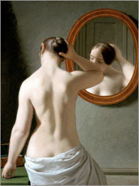 Christoffer-Wilhelm Eckersberg - Young woman in front of a mirror