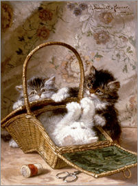 Henriette Ronner-Knip - Young cats with a sewing basket