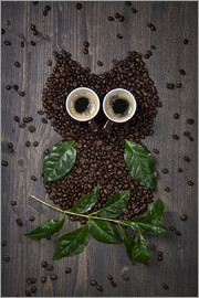 Elena Schweitzer - Coffee owl from beans, leaves and cups