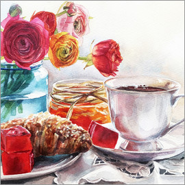 Maria Mishkareva - Coffee and croissant breakfast