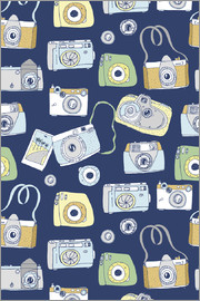 Cameras on a blue background