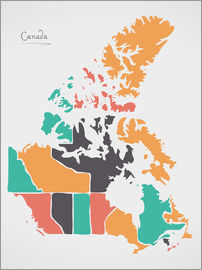 Ingo Menhard - Canada map modern abstract with round shapes