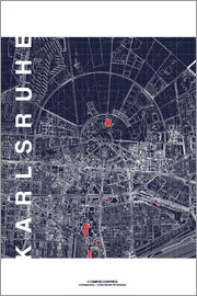 campus graphics - Karlsruhe city map at midnight
