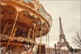 carousel and the Eiffel Tower at sunset