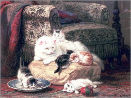 Henriette Ronner-Knip - Cat with her Kittens on a Cushion