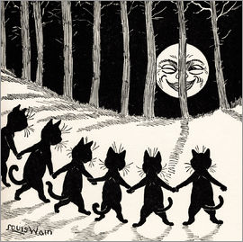 Louis Wain - Cats at full moon