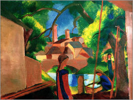 August Macke - Childrens by the Fountain, with Town in the Background