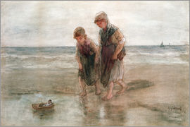 Jozef Israels - Children playing with a model boat