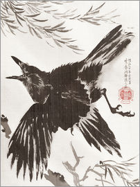 Kawanabe Kyosai - Crow and Willow Tree