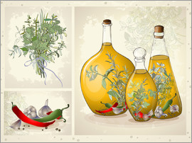 Kitchen herbs collage