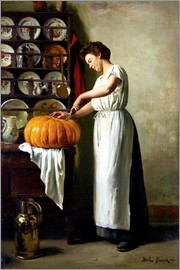 Carving the pumpkin, 1910
