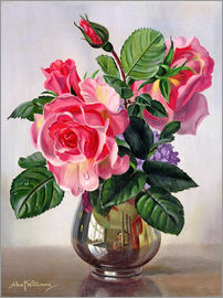 Albert Williams - Lady Sylvia Roses in a Silver Vase