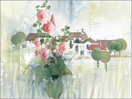 Franz Heigl - Rural Impression with hollyhocks