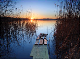 Matteo Colombo - Landscape: wooden jetty at sunset on lake Varese, Italy