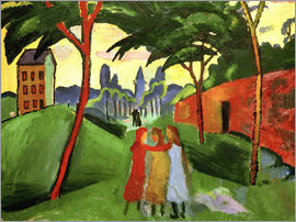 August Macke - Landscape with Three Girls