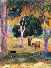 Paul Gauguin - Landscape with a Pig and a Horse (Hiva Oa)