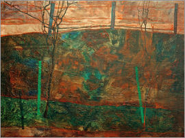 Egon Schiele - Landscape with red sky