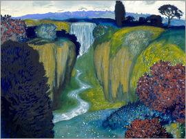 Franz von Stuck - Landscape with Waterfall