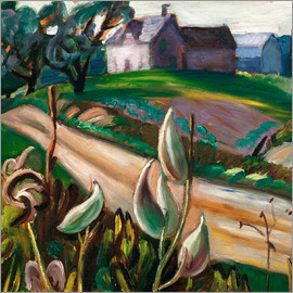 Prudence Heward - Country road with farm buildings and milkweed