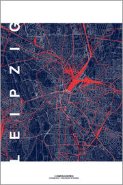 campus graphics - Leipzig Map Midnight city