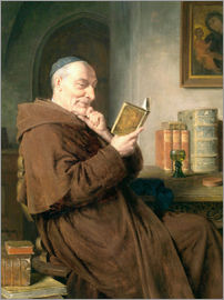 Eduard Grützner - Reading monk with wine glass