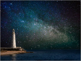 Lighthouse in starlight