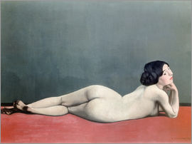 Felix Edouard Vallotton - Reclining Nude on red carpet