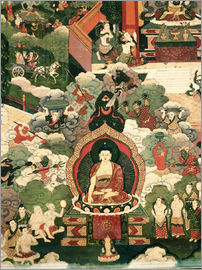 Tibetan School - Life of Buddha Sakymuni, the Armies of Mara Attacking the Blessed