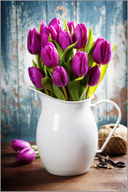 Purple Tulips in an enamel jug