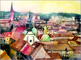 Johann Pickl - Linz, view to the cathedral