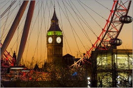 Charles Bowman - London Eye (Millennium Wheel) frames Big Ben at sunset