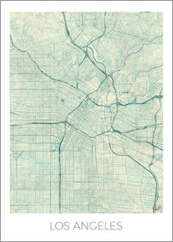Hubert Roguski - Los Angeles Map Blue