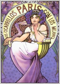 Alfons Mucha - Los Cigarrillos Paris, purple iris