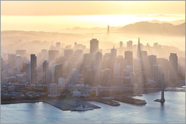 Matteo Colombo - Aerial view of San Francisco downtown district and Golden gate at sunset, California, USA