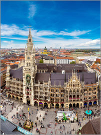 Aerial view on the Marienplatz in Munich