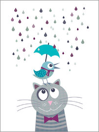 Jaysanstudio - Bird and cat love rainy day